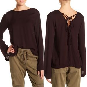 NWT Bella Dahl bell sleeve lace-up back blouse M